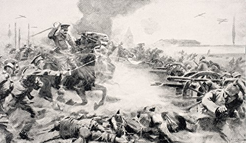 Ken Welsh / Design Pics - Captain F.O. Grenfell Vc Leading Charge Of 9Th Lancers On August 24 1914 To Retake Captured Guns Near Doubon He Received Victoria Cross For His Action. From The War Illustrated Album Deluxe Published London 1916 Photo Print (48,26 x 27,94 cm) (Pic Fo)