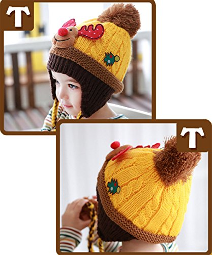 Chapkas Bonnet Cache-Oreille Tricot Bébé Enfant Fille Garçon Jaune