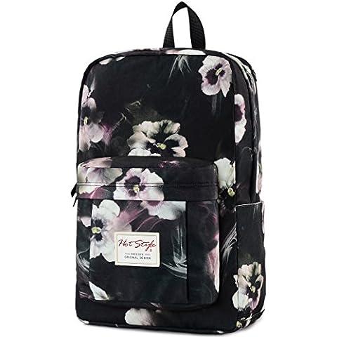 HotStyle Hoppor Mochila floral 24L - Bolsa moda impermeable para portatil de 15,6 pulgadas