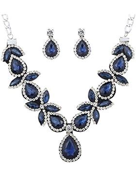 YAZILIND Frauen-Schmuck-Set Silber überzogene rote Atemberaubende Kristalltropfen geformte klumpige Halsketten-Ohrring...