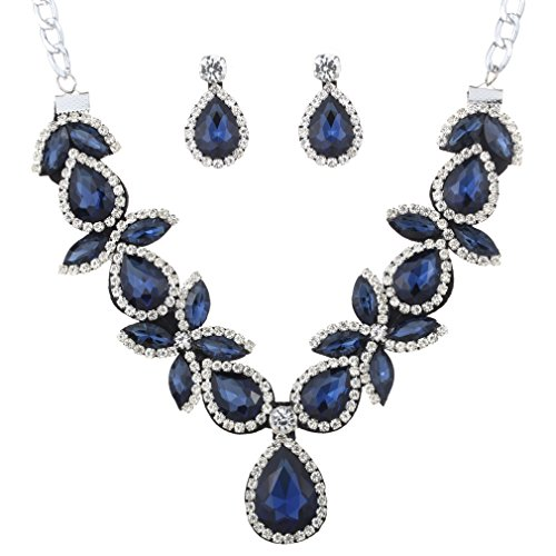 Yazilind Mujeres determinado de la joyería plateada plata azules impr