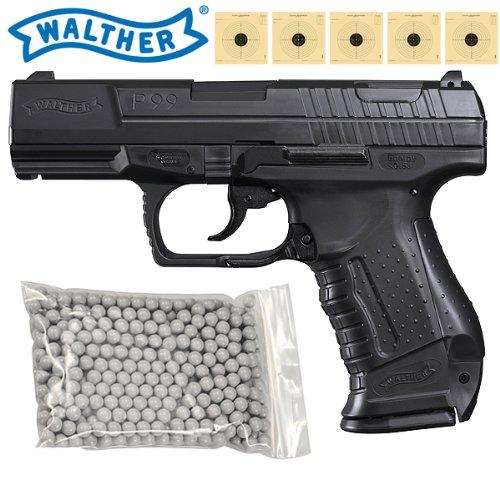Softair Pistole Walther P99 Federdruck inkl. Ersatzmagazin, 500 BB, 5 Zielscheiben und 4komma5® Aufkleber zu 4komma5