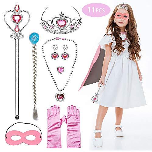 JUSTIDEA 11 Stück Prinzessin Kostüme Zubehör Mädchen Set Prinzessin ,EIS Prinzessin Set für Prinzessin Cosplay Handschuhe Tiara Zauberstab und Umhang Braid Umhang Tiara mädchen (Pink)