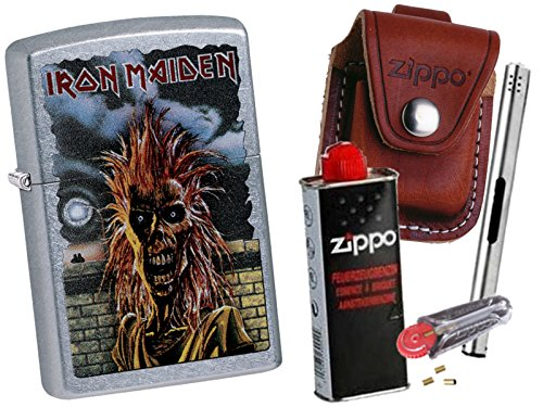 Preisvergleich Produktbild Zippo Iron Maiden 1980 + Zippo POUCH mit Zippo Zubehör und L.B Chrome Stabfeuerzeug (mit LOOP Braun Pouch)