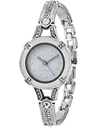RIDIQA Analog Crystal Studded WHITE Dial Stainless Steel Wrist Watch For_Girls, Women-RD-076