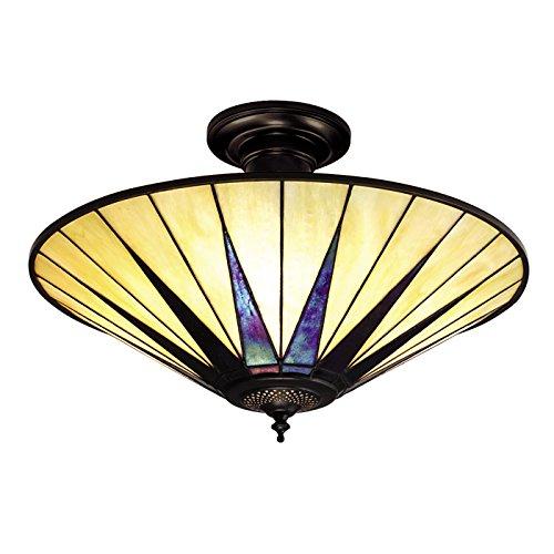 Semi Flush Light - Glas im Tiffany-Stil und dunkle Bronze mit Highlights von Happy Homewares (Bronze Light-anhänger 3 Lampe)