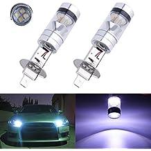 FEZZ LED Bombillas de Coche Auto LED H1 100W Sharp 20SMD Lamparas Iluminación Para faros antiniebla DRL 6000K Blanco (Paquete de 2)