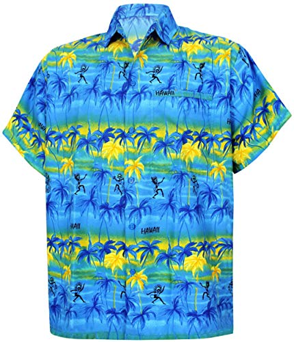 LA LEELA Shirt Camisa Hawaiana Hombre XS - 5XL Manga Corta Delante de Bolsillo Impresión Hawaiana Casual Regular Fit Camisa de Hawaii Azul 640 4XL