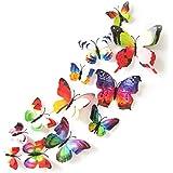 XMJR Wall decoration La emulación de doble mariposa 3D estereoscópico salón dormitorio matrimonio adhesivo de pared decorado cortinas nevera pega Sala de bodas está bien decorada, con los colores del arco iris doble 12 pack, grande