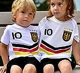 ElevenSports Deutschland Trikot + Hose mit GRATIS Wunschname + Nummer + Wappen Typ #DV im EM/WM Weiss - Geschenke für Kinder,Jungen,Baby. Fußball T-Shirt personalisiert