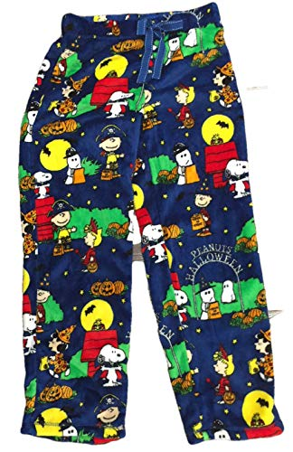 Peanuts Halloween Snoopy Charlie Brown Damen Pyjama Minky Fleece Schlafhose blau - Blau - Large / 12-14 US