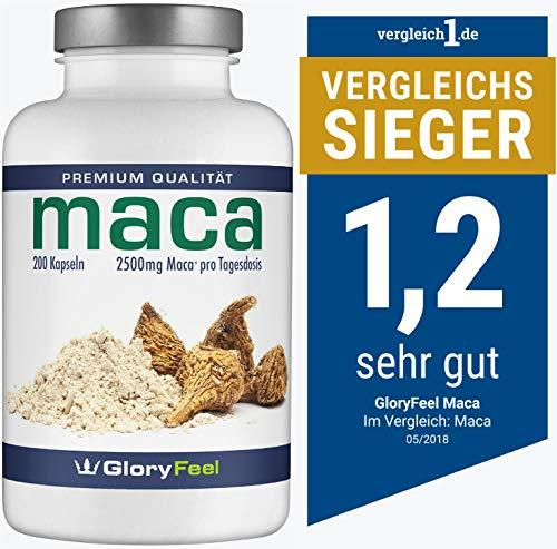 Maca Kapseln 2500mg – Der VERGLEICHSSIEGER 2018* – 200 vegane Kapseln – Über 6 Monate Versorgung plus Vitamin B12 – Laborgeprüft ohne unerwünschte Zusätze hergestellt in Deutschland