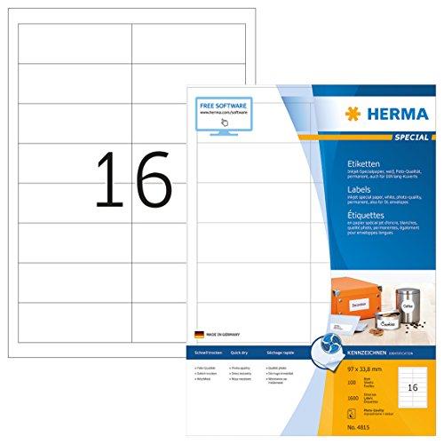 Herma 4815 Tintenstrahldrucker Etiketten Foto-Qualität (96,5 x 33,8 mm, DIN A4 Papier) weiß, 1.600...
