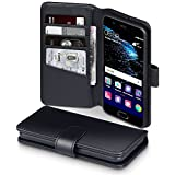 Huawei P10 Case, Terrapin [ECHT LEDER] Brieftasche Case Hülle mit Standfunktion Kartenfächer und Bargeld für Huawei P10 Hülle Schwarz