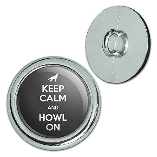 Wolf-taste (Metall Craft Nähen Neuheit Tasten–Set von 4–Keep Calm und h-o, metall, Howl On Wolf - Keep Calm and)