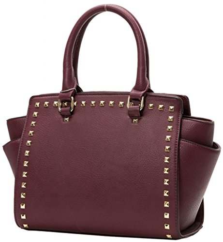 Kukubird Trapezium Metal Stud Faux Leather Classic Tote Large Handbag Burgundy