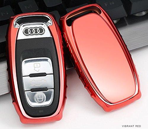 Biznon elettrolitico TPU Portachiavi Smart Cover Custodia per Audi Durevole Anti Shock Auto Veicolo Cromo Metallico Effetto Specchio Bumper Protezione Shine Decorotive Decorazione Style B