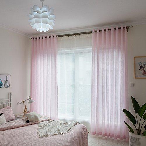 Vorhänge LINGZHIGAN Pink Garn Slub Garn Prinzessin Zimmer Mädchen Zimmer Fenster Bildschirm 2 Panels (Size : L:3.0*H:2.7m) -