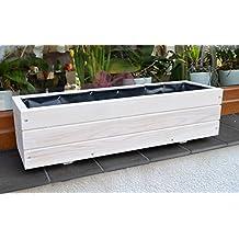 D6 Jardinera de madera, para jardín o terraza, montada,color blanco