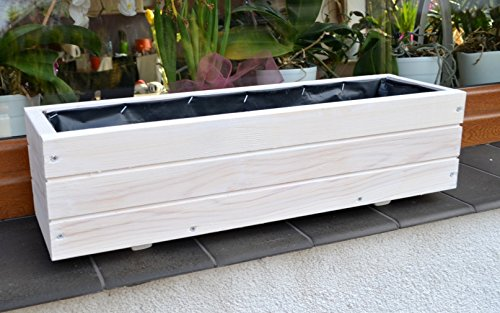NEU Pflanzkasten aus Holz TOP Pflanzkübel Garten Terrasse fertig montiert D6 Weiss (Länge 90cm)