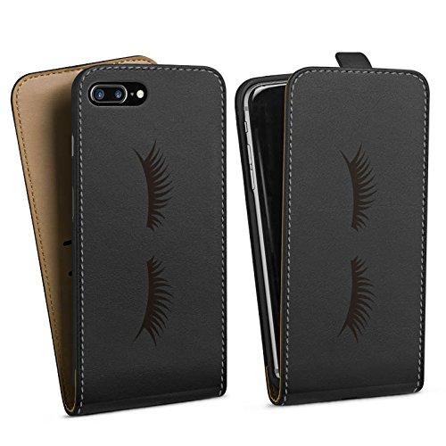 Apple iPhone 7 Plus Silikon Hülle Case Schutzhülle Lashes Wimpern ohne Hintergrund Downflip Tasche schwarz