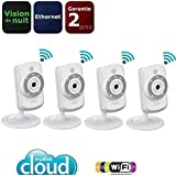 D-Link DCS-942L*4 Pack de 4 Caméras IP Wi-Fi Jour/Nuit Blanc