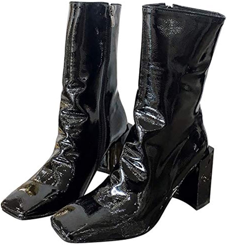LBTSQ-Mode/Chaussures Peau Femme/La Peau LBTSQ-Mode/Chaussures Bottes Haut De 8 Cm Le Printemps Et L'Automne Wild Boots Martin Bottes Minces... 56b347