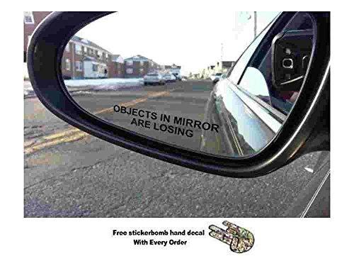 Preisvergleich Produktbild (Paar) Objekte in Spiegel verlieren Aufkleber schwarz Glas geätzt Funny Aufkleber (wird mit gratis Stickerbomb Hand Aufkleber)