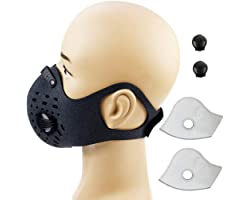 YTFAIFEN Bike Face Cover Cycling Mask with Activated Carbon Filters Valves Anti Dust Fog Smoke Pollution Respirator for Runni