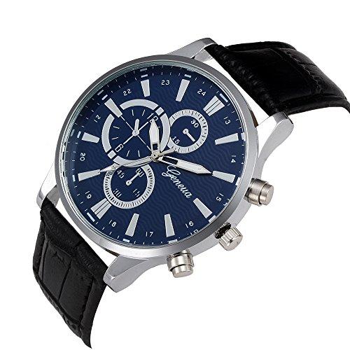 KanLin1986 Reloj De Los Hombres De Diseño Retro Reloj De Cuero Band Analog Alloy Quartz Watch (negro)
