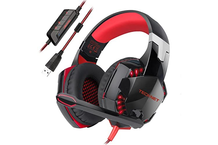 Gaming Headset,TeckNet 7.1 Channel Surround Sound Gaming Headset Headband Over-Ear Headphone With Noise Cancelling Microphone and LED Lighting For PC Computer Gaming, USB Connection