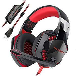 Casque Gaming, TeckNet Over-Ear USB Casque Gaming Headset, Son Surround Virtuel 7.1, Casque Gamer avec Éclairage RGB et Microphone Numérique Amélioré , pour PC