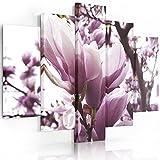 Feeby. Leinwandbild - 5 Teile - Bilder, Wand Bild, Wandbilder, Kunstdruck XXL, 5-Teilig, Typ A, 100x70 cm, ROSE MAGNOLIE