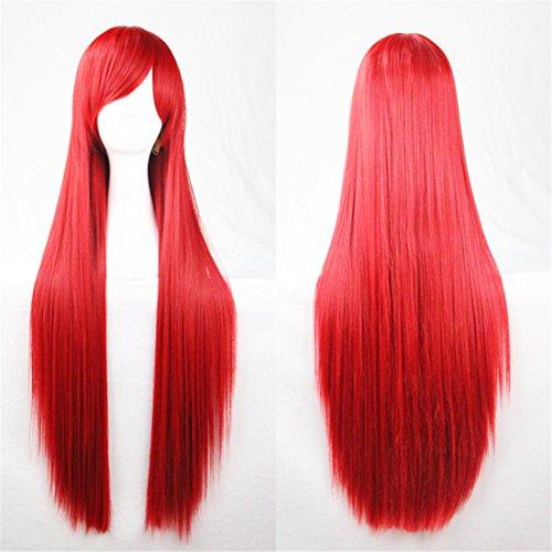 (Chiguo Perücke 80cm Langes Glattes Blond Schwarz Braun Rosa Grau Usw Perücke Haar für Damen Frauen Karneval Cosplay Halloween Schaufensterpuppen Mottoparties (Rot))
