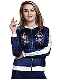 MansiCollections Embroidered Bomber Jacket for Women
