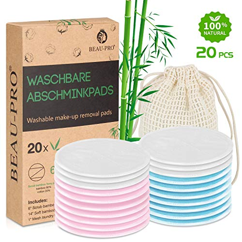 Abschminkpads Waschbar | 20 wiederverwendbare Bio-Bambus & Baumwolle Wattepads mit Wäschesack | Perfekt zum Reinigen von Gesicht und Augen | Umweltfreundlich/Zero Waste/Für alle Hauttypen Bambu Bio-bambus