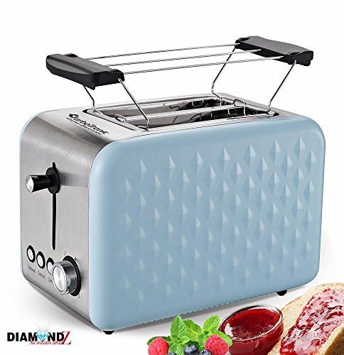 2 Scheiben Retro Toaster mit Brötchenaufsatz Vintage Design Edelstahl 850 Watt inklusive Krümelblech Azure
