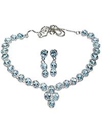 05fb8cef3d68 Plata de Ley Collar Pendientes Conjunto Azul Topacio auténtico piedras  preciosas 925 joyas