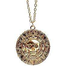 bdf39afbedde Caja de terciopelo - monedas de piratas del Caribe Aztec Medallion para  pulsera collar con colgante