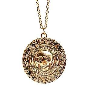 """Beaux Bijoux Collana con medaglione a ciondolo a forma di moneta azteca con teschio, per travestimento in stile """"Pirati dei Caraibi"""", in confezione di velluto, colore: oro"""