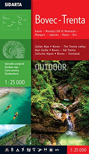 Bovec - Trenta Outdoor Carta escursionistica Kanin-Montaz-Mangart-Jalovec-Razor-Krn 1:25,000 Slovenia escursioni e trekking alla scoperta della natura