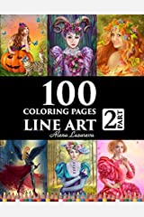 100 coloring pages. Line art. Part 2. Alena Lazareva: Coloring Book for Adults: Victorian, Mermaids, Fairies,  Fashion, cats and dogs, Female portraits and More! Broché