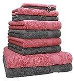 Betz 10-TLG. Handtuch-Set Premium 100% Baumwolle 2 Duschtücher 4 Handtücher 2 Gästetücher 2 Waschhandschuhe Farbe Altrosa & Anthrazit Grau