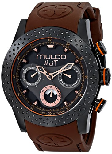 MULCO WOMEN'S 46MM SILICONE BAND STEEL CASE SWISS QUARTZ WATCH MW5-1962-035