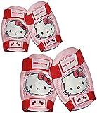 4 tlg. Set: Hello Kitty Knieschützer + Ellenbogenschützer - für circa 5 bis 12 Jahre - für Kinder Gelenkschützer Knieschoner rosa pink Mädchen