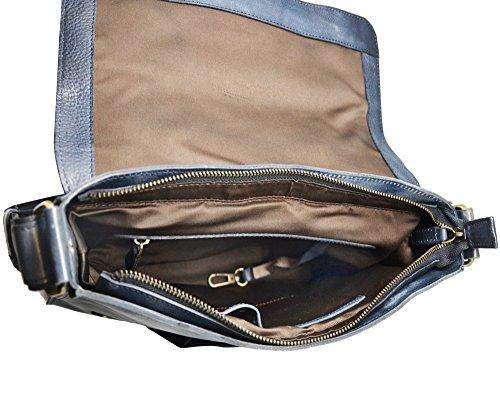 JAMIE Messenger uomo donna borsa a tracolla regolabile ipad computer portatile 12'' pelle italiana invecchiata marrone