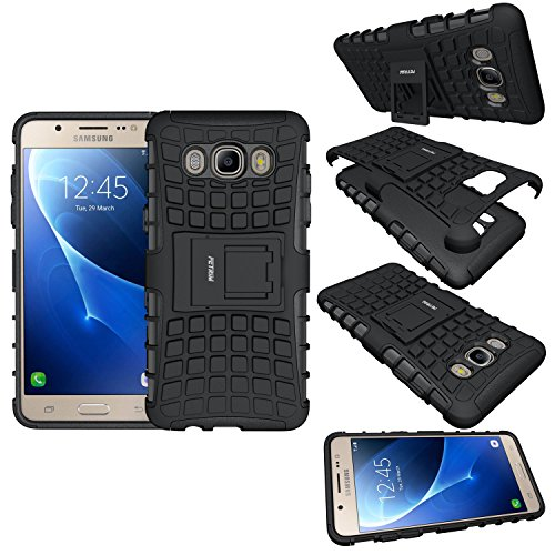 Samsung galaxy J5 Case,J5 2016 Case,Shockproof Slim Fit Case Dual Layer Hybrid Ultra Defender Protective Rubber Hard Protection Cover for Samsung galaxy J5 2016 with Kickstand - Black Test