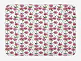 Spring Bath Mat, Retro Style Fuji Chrysanthemum Flower and Sparrow Birds on Splashed Ink Background, Plush Bathroom Decor Mat with Non Slip Backing, 23.6 W X 15.7 W Inches, Multicolor