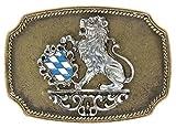 Bayrische Gürtelschnalle Bayern Wappen Tracht : Gürtelschliesse Landeswappen - Buckle eckig Bayern Farbe: messing