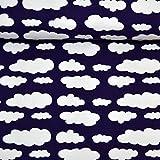MAGAM-Stoffe ''Lena'' Wolken in 10 Farben | Jersey-Stoff | Beste Öko-TEX Qualität | Meterware ab 50cm | FX (01. Dunkel-lila)